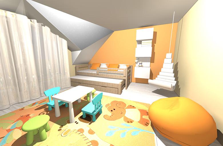 Kuřim - podkrovní atypický dětský pokoj